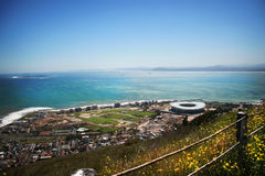 Cape Town from Signal Hill. View of the new Soccer Stadium for the 2010 FIFA World Cup, in Cape Town, South Africa. Also depicted, is Robben Island, and the West Royalty Free Stock Image