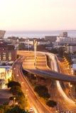 Cape Town sikt efter solnedgång Royaltyfria Foton