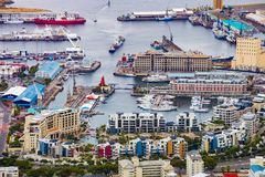 Elevated view of the V&A Waterfront in Cape Town harbor stock image