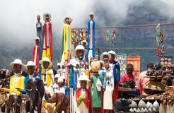Cape Town,South Africa-January 14,2015:Ethnic art with carvings and statues at roadside stall Stock Image