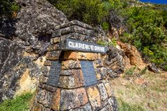 Close up of a marker stone at Clarence Drive R44 scenic route. CAPE TOWN, SOUTH AFRICA - November 09, 2017: Close up of a marker stone at Clarence Drive R44 Royalty Free Stock Images
