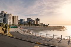 Sea point district streets and embankment sunset view, Cape Town royalty free stock photo