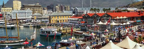 CAPE TOWN, South Africa - October 31, 2007: Cape Town Waterfront Panorama, with Buildings and Commercial Activities royalty free stock photography