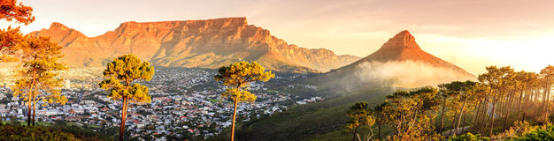 Cape Town, South Africa. Panoramic view of Cape Town, Table Mountain and Lions Head in South Africa royalty free stock images