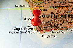 Cape Town, South Africa pinned map Royalty Free Stock Photography