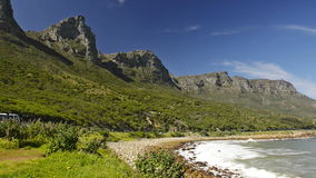Cape Town South Africa. Scenic view along the coastal road at the back of famous Table Mountain and the 12 Apostles in Cape Town, South Africa, in high stock video