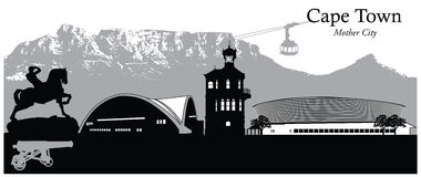 Cape Town, South Africa. Vector illustration of the skyline cityscape of Cape Town, capital of South Africa Stock Photo