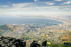 Cape Town, South Africa. View of the city of Cape Town the Atlantic coast from Table Mountain Stock Images