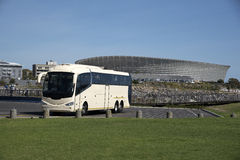 Cape Town Sports Stadium and a coach Stock Photos