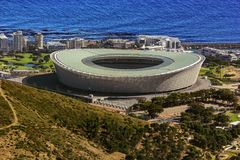 Cape Town Stadium. Republic of South Africa. Cape Town. The Cape Town Stadium Green Point Stadium, Kaapstad-stadion in Afrikaans viewed from Table Mountain Royalty Free Stock Photo