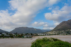 Cape Town Suburban Area behind Table Mountain Royalty Free Stock Photography