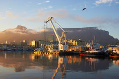 Cape Town and Table mountain. View of Cape Town port and Table Mountain Royalty Free Stock Photography