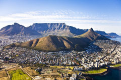 Cape Town and Table Mountain Aerial. Aerial View of Cape Town with Table Mountain, Lions Head, Signal Hill, Devils Peak, Greenpoint and Seapoint