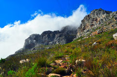 Cape Town Table Mountain covered by clouds Stock Image