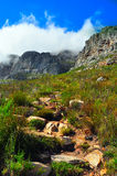 Cape Town Table Mountain covered by clouds Stock Photos