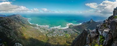 Cape Town view from table mountain. Panorama to the Atlantic Ocean. Cape Town view from table mountain, panoramic scenary landscape. Panorama to the Atlantic royalty free stock photography