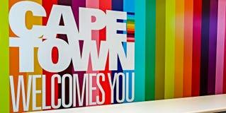 Cape Town - 2011: Welkom uithangbord stock afbeelding