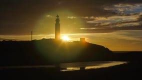 Cape Trafalgar Lighthouse Cadiz Spain stock video footage
