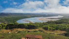 Cape Tribulation Cooktown view of Endeavour river. From Grassy Hill Royalty Free Stock Photo
