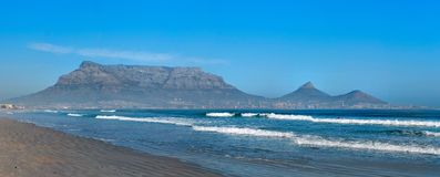 Cape Twon (South Africa). Great view of Cape Town with the Table mountain, Lions Head and Signal Hill (South Africa Stock Photo