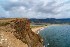 Cape Uyuga. Maloe More on Lake Baikal. Russia. View of Cape Uyuga. Maloe More on Lake Baikal in the morning. Russia Stock Photography