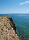 Cape uyuga. He rocky cliff . Maloe More Strait View, Cape Uyuga, Baikal lake Stock Images