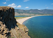 Cape uyuga. He rocky cliff . Maloe More Strait View, Cape Uyuga, Baikal lake Stock Photography