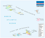 Cape verde administrative map with flag Royalty Free Stock Photography