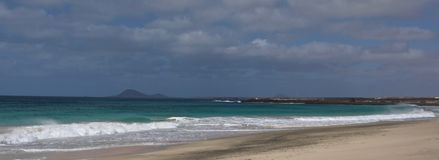 Cape Verde deserted beach with mountain royalty free stock photos