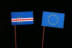 Cape Verde flag with European Union EU flag  on black Stock Images