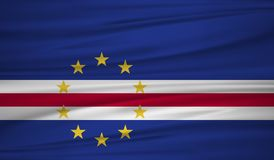 Cape Verde flag vector. Vector flag of Cape Verde blowig in the wind. EPS 10 Royalty Free Stock Photo