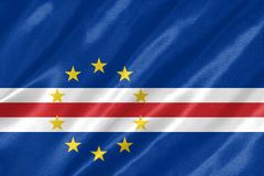 Cape Verde Flag. With waving on satin texture royalty free illustration