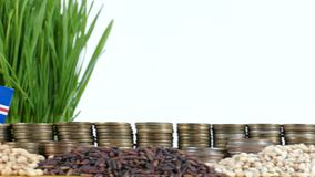 Cape Verde flag waving with stack of money coins and piles of wheat. And rice seeds stock footage