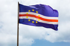 Cape verde flag waving on wind Royalty Free Stock Photo