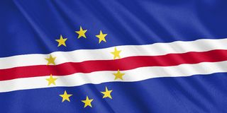 Cape Verde flag waving with the wind. stock illustration