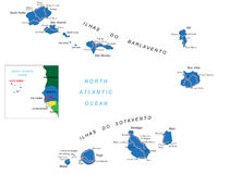 Cape Verde islands map Stock Photo