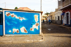 Cape Verde map on a wall, Sal Island Royalty Free Stock Images