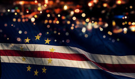 Cape Verde National Flag Light Night Bokeh Abstract Background Royalty Free Stock Photography