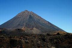 Cape Verde active volcano Pico do Fogo on the island of Fogo stock photo