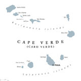 Cape Verde political map. With capital Praia. Republic and island country in the central Atlantic Ocean off the coast of West Africa. Gray illustration on white Royalty Free Stock Photography