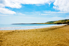 Cape Verde, Sao Francisco Beach - Empty Tropical Sandy Seashore, Nature. Sao Francisco yellow sandy beach bay, city of Praia outskirts, Santiago Island. Cape Royalty Free Stock Photo