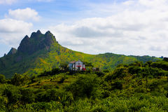 Cape Verde Volcanic and Fertile Landscape, Catholic Church, Santiago Island. Cape Verde - secular church of Santa Catarina, Carreira outskirts, a small town at royalty free stock image