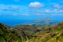 Cape Verde Volcanic Landscape, Tarrafal Bay and Sierra, Malagueta Mountains. Beautiful Tarrafal blue ocean bay and city flat land. Volcanic green mountains from Royalty Free Stock Photography