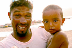 Cape Verdean man and child Royalty Free Stock Images