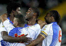 Cape Verdean players celebrating goal Stock Photos