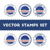 Cape Verdian flag rubber stamps set. National flags grunge stamps. Country round badges collection Royalty Free Stock Image