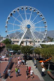The Cape Wheel at the V&A Waterfront with Table Mountain in the Stock Image