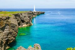 Cape Zanpa Lighthouse, Okinawa, Japan. Stock Image