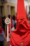 Caped Sinner in Spanish Religious Procession Stock Photo