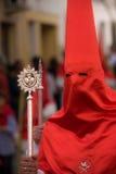 Caped Sinner in Spanish Religious Procession. The Semana Santa Processions in Spain stock photo